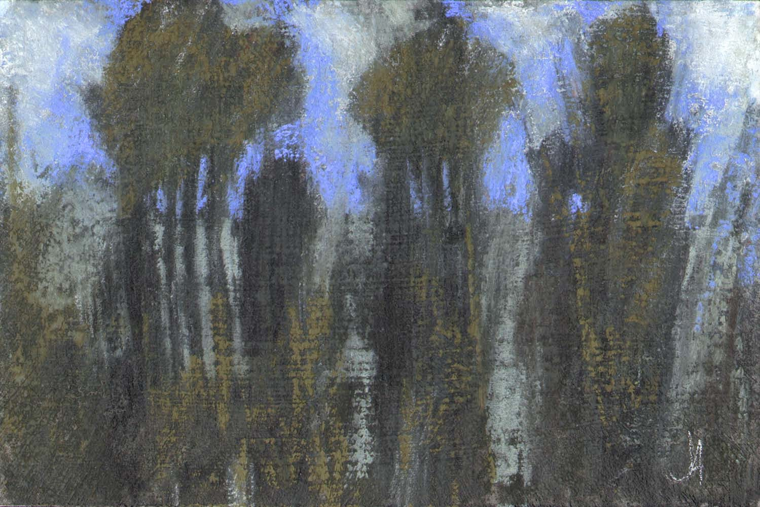 tree line abstract non objective landscape charcoal pastel drawing artist janine aykens