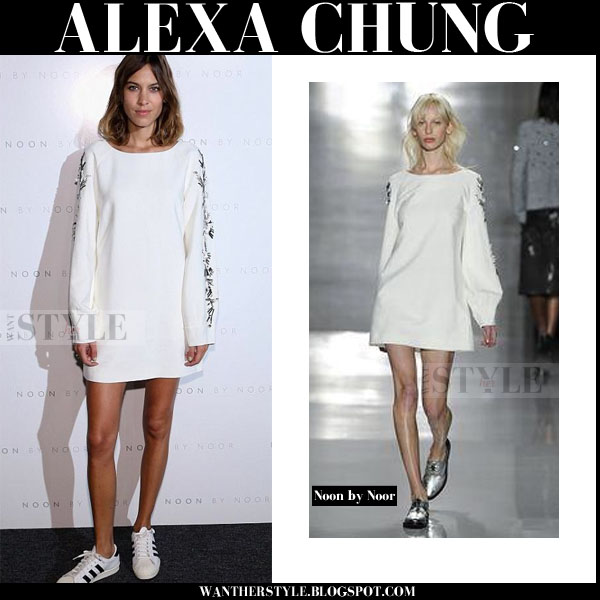 Alexa Chung in white mini dress with long embellished sleeves noon by noor front row new york fashion week 2015