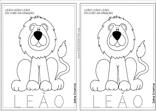 Atividade Tracejado Leão para Colorir