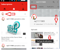 Get notification from your subscribed youtube channels,how to get notification of youtube channle,subscribed youtube channel notification,Youtube channel notification,Youtube video uploaded notification,youtube video notification,upload notification,subscribed notification,updates activities,live notification,youtube notification in android phone,windows phone,iphone,youtube update,status bar notification,information,youtube video sms,notification icon