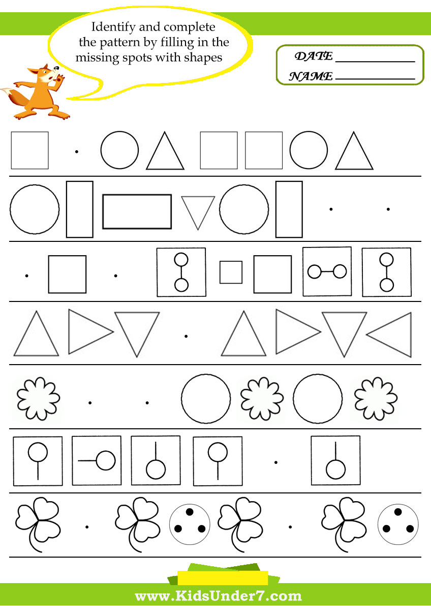 worksheet Kindergarten Pattern Worksheets kids under 7 pattern recognition worksheets worksheets