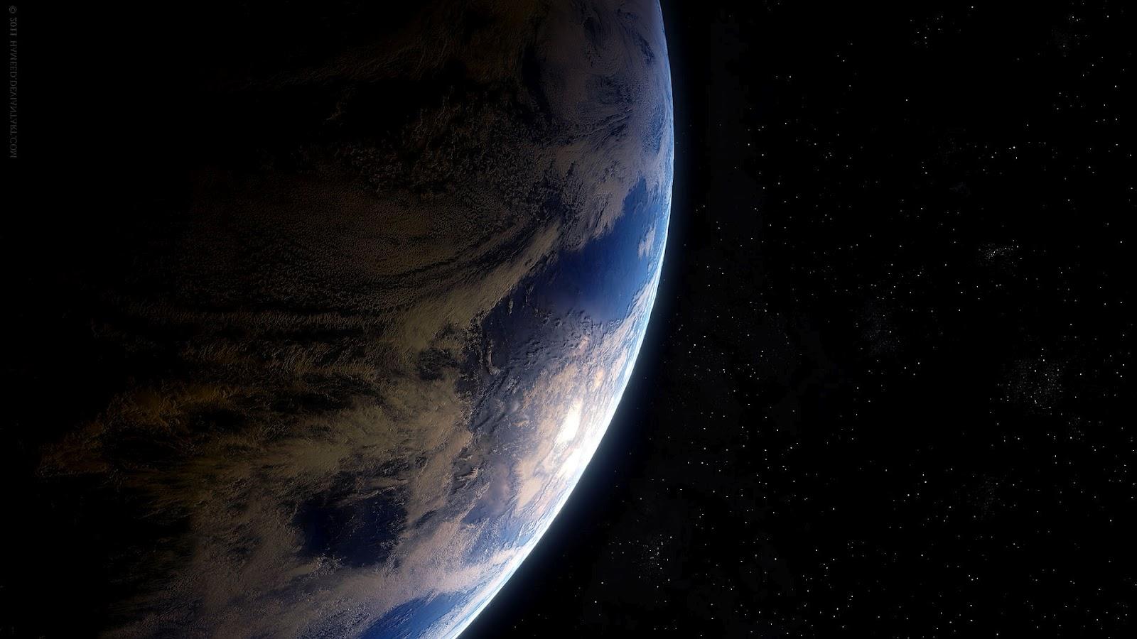 Achtergrond met de aarde en de ruimte en sterren | hd ruimte wallpaper