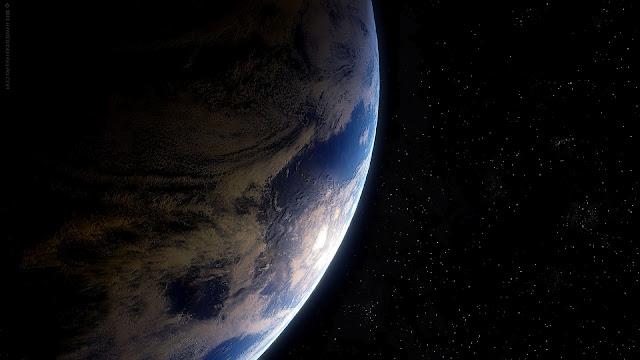 Wallpaper met onze Aarde in de ruimte