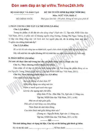 đáp án môn văn khối C năm 2012