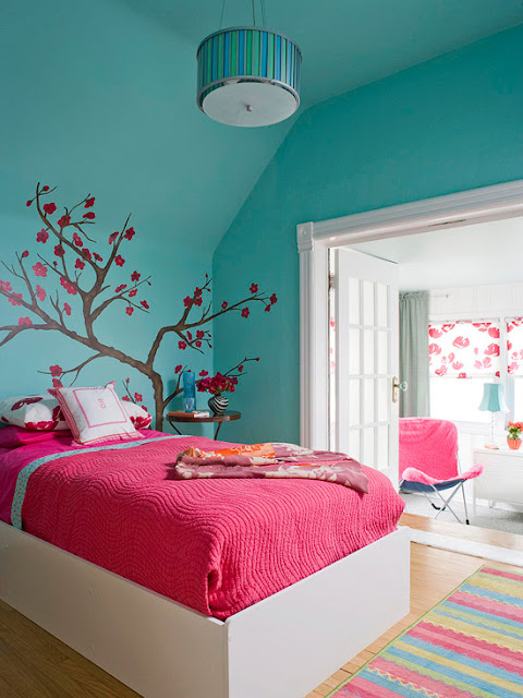 голубой дизайн комнаты для подростка девочки созданный подростокм фото