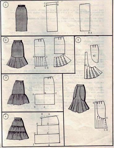 Шитье для чайников: 18 моделей разных юбок с выкройкой.