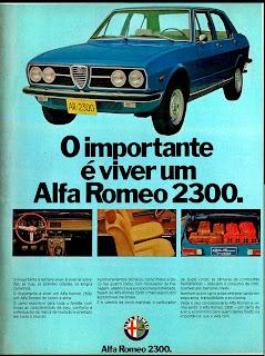 propaganda Alfa Romeo 2300 - 1975.  brazilian advertising cars in the 70. os anos 70. história da década de 70; Brazil in the 70s; propaganda carros anos 70; Oswaldo Hernandez;