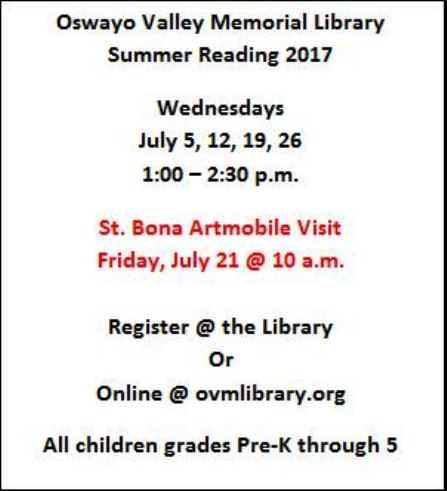 7-5/12/19/26 OV Library Summer Reading