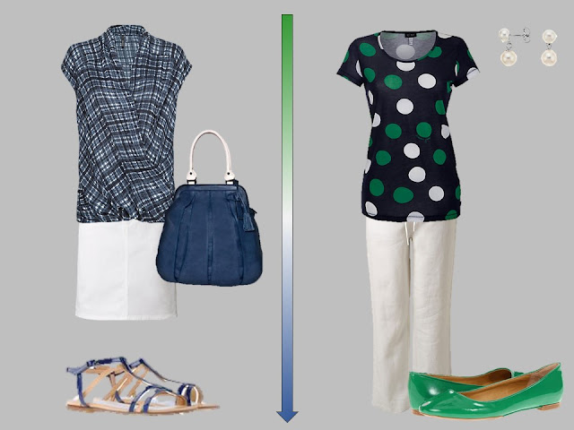white skirt with a blue plaid shirt, and white pants with a blue dotted top