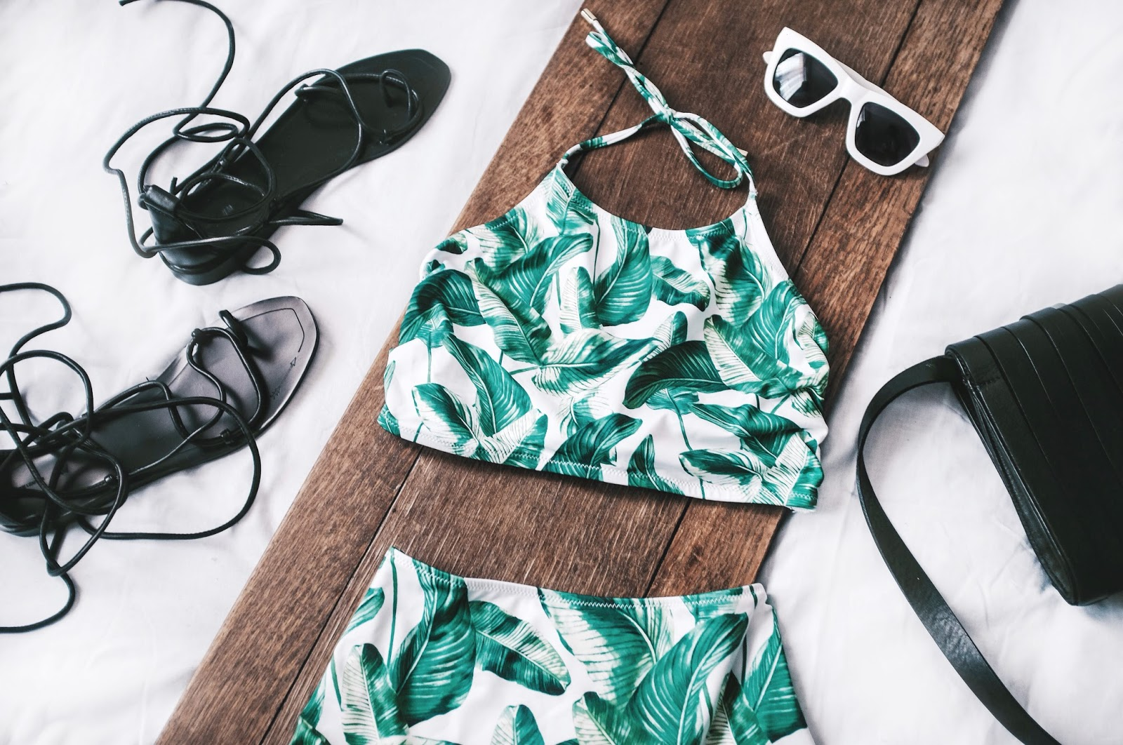 Leather Tie Up H&M Sandals Green Bana Leaf Print High Waisted Bikini