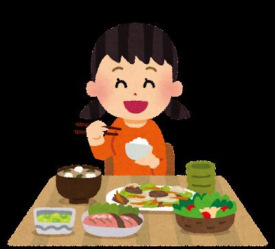 食事をしている女の子のイラスト