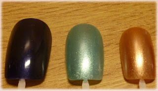 Les Lolitas Nail Polish by Cosmod in Colours: Navy, Turquoise, Bronze
