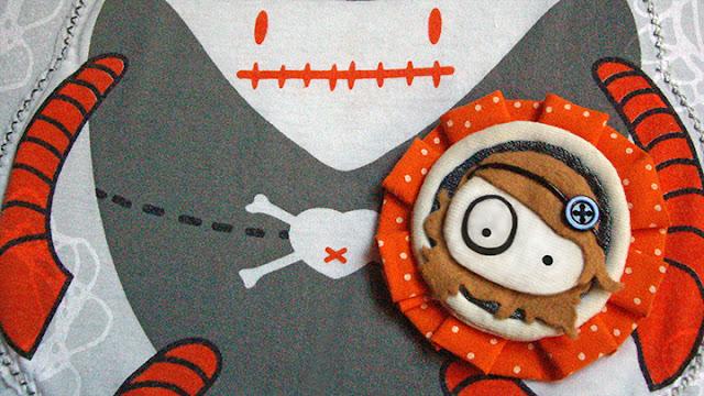 broche original foltys vs polka dots:orange (100% handmade with ♥)