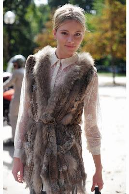 fur vest worn with lace