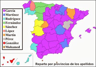 Reparto por provincias de los apellidos