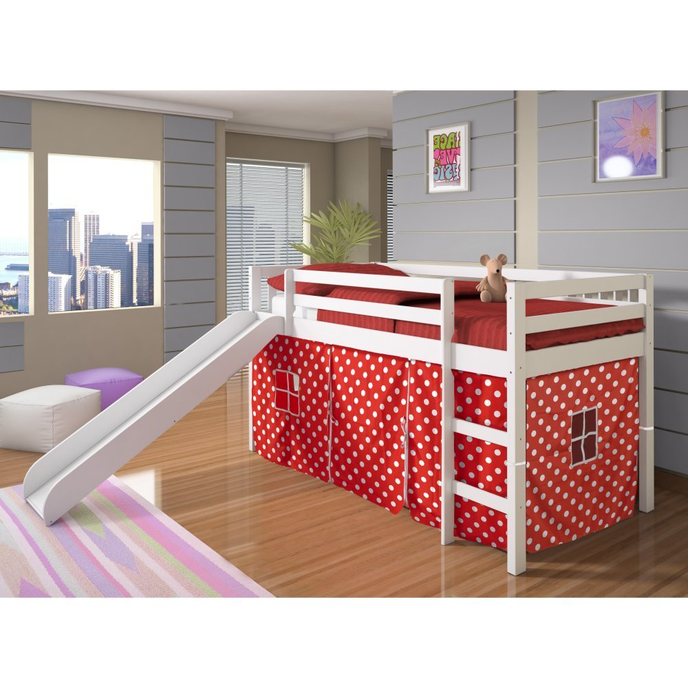 Bunk beds for girls with slide and desk - Girls Low Loft Bunk Bed With Slide Red Polka Dot Play Tent Underneath