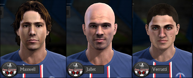Maxwell, Christophe Jallet e Marco Verratti Faces - PES 2013