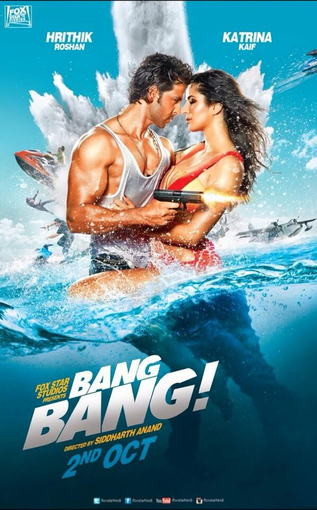 Complete cast and crew of Bang Bang (2014) bollywood hindi movie wiki, poster, Trailer, music list - Hrithik Roshan, Katrina Kaif and Bipasha Basu, Movie release date October 02, 2014