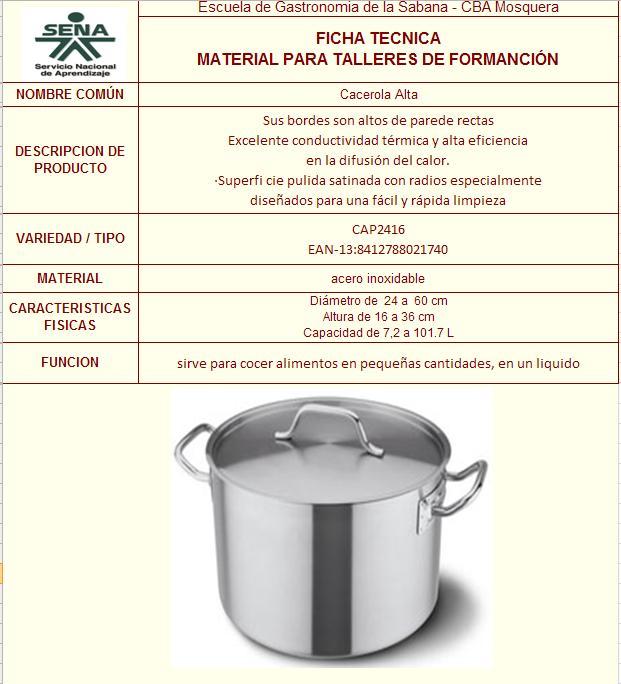 Gastronomia Ficha Tecnica De Bateria De Cocina