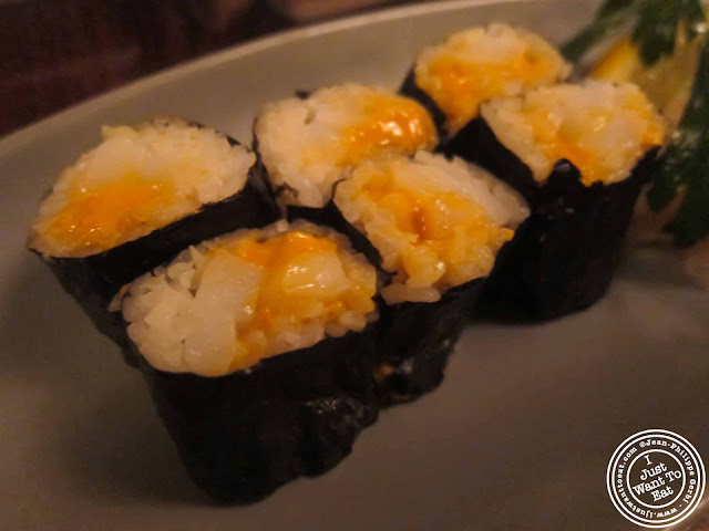 Image of Uni Ika sushi at Japonica, Japanese restaurant in Greenwich Village, NYC, New York