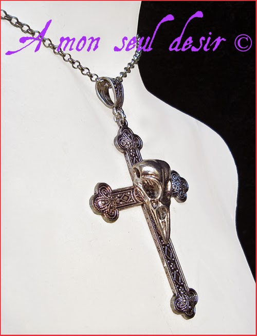 Collier Gothique Croix Crâne oiseau Gothic Goth Silver Skull Bird Cross Necklace Dark Nightingale