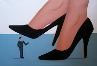 A woman stepping on a tiny man