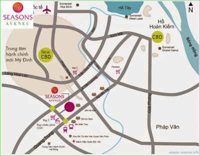 Vị trí dự án chung cư Seasons Avenue - Mỗ Lao