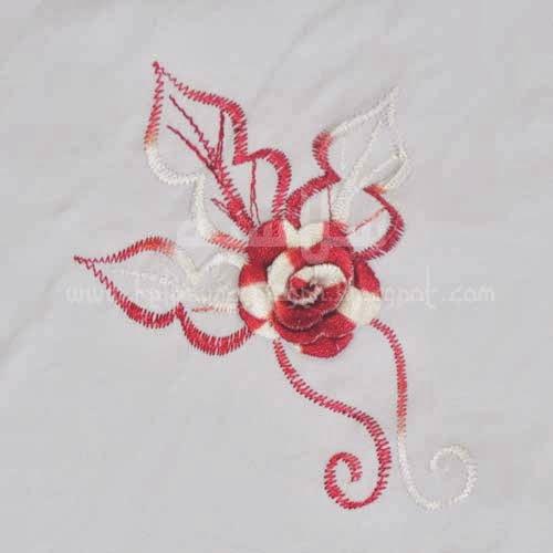 Telekung Vietnam merah tua bunga timbul