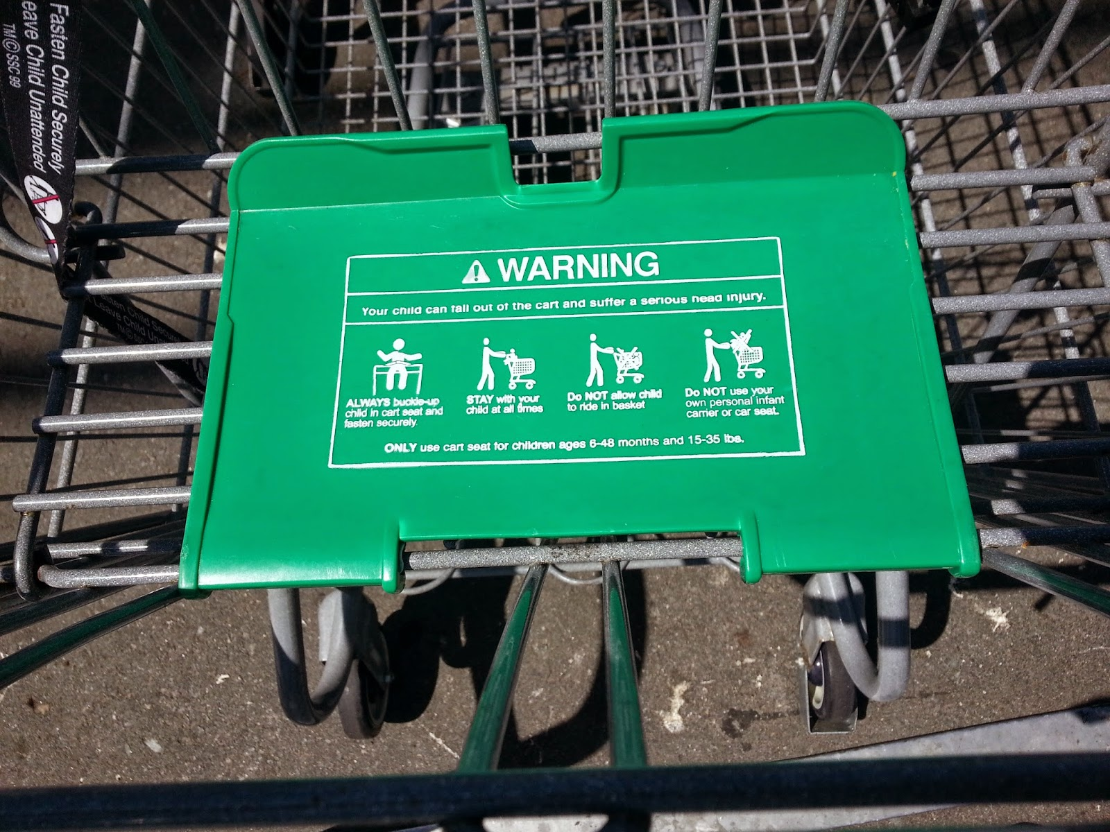 Notice The Far Right Image Warning Telling Parents NOT To Place Their Car Seat On Shopping Cart