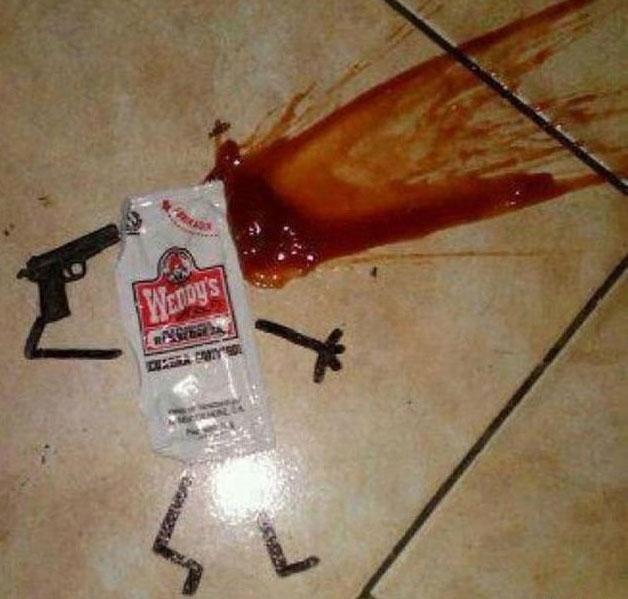 صور مضحكة - انتحار كيس كاتشب
