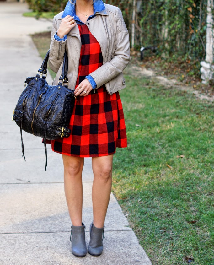 Red and Black Check Dress Gray Leather Jacket Chambray Top Fall Layering Ideas