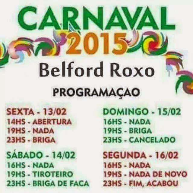 Imperdível: a  programação do Carnaval 2015 em Belfort Roxo