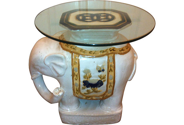 Top An Elephant Garden Stool With A Round Of Glass For A Wonderful  Chinoiserie Side Table. These Elephants Can Be Found New Or Vintage In  Every Price Range.