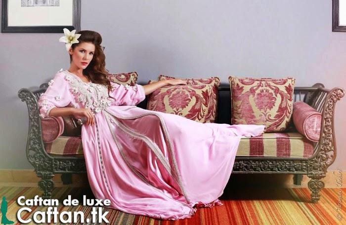 Luxueux caftan rose clair 2014