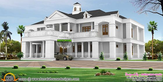 Pillar type sloping roof Colonial home plan