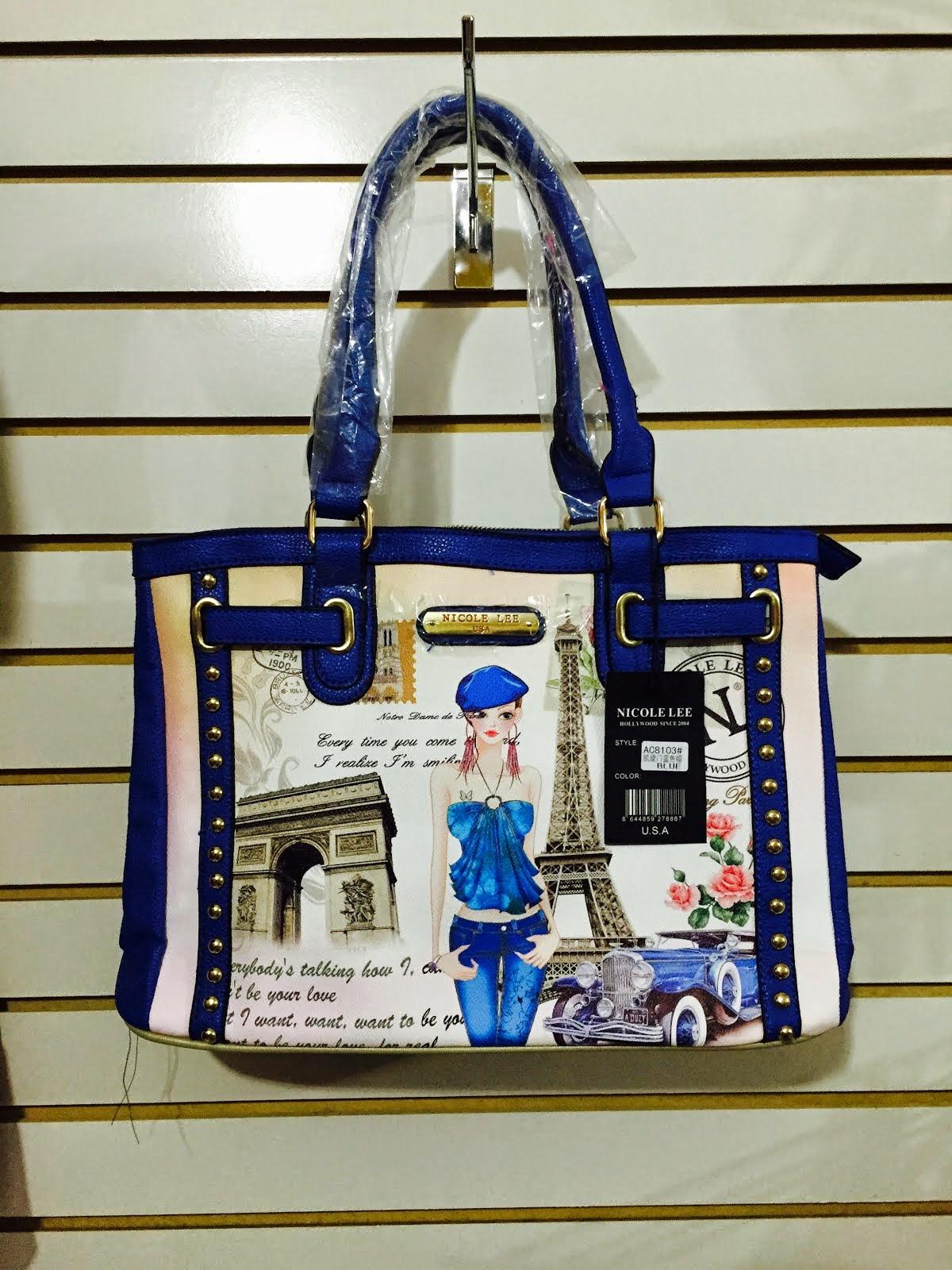 CARTERA NICOLE lee 8103 blanco C/ azul