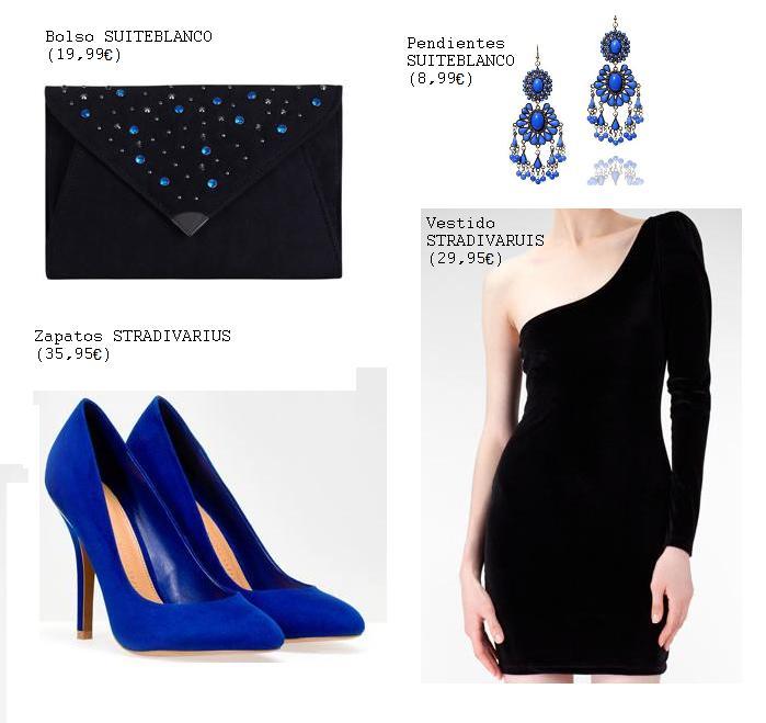 Vestido negro y zapatos azul