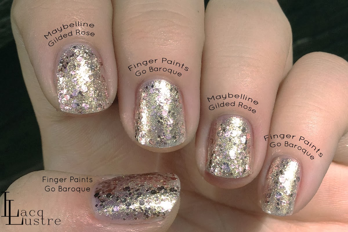 Finger Paints Go Baroque Maybelline Gilded Rose Comparison