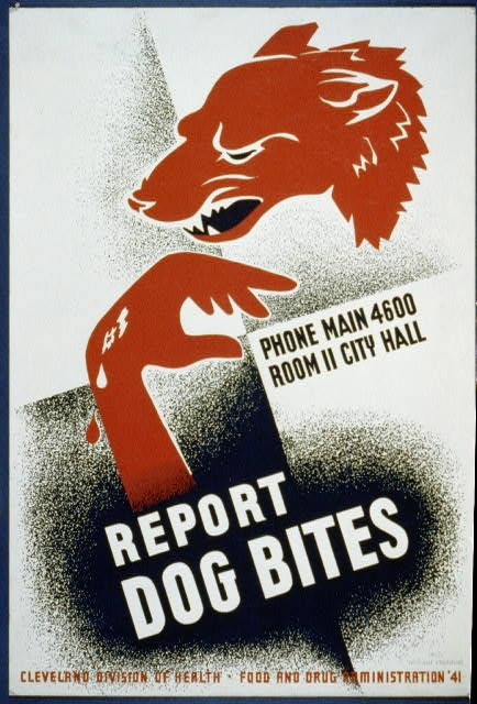 food and drug administration, wildlife, dog, public health, vintage, vintage posters, cleveland, retro prints, classic posters, graphic design, Report Dog Bites - Vintage Public Health Poster - Food and Drug Administration 1941