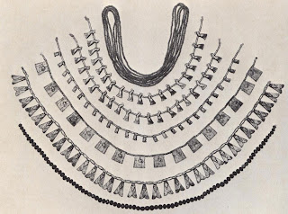 Gold and silver necklaces from the burials of three queens of Tuthrnosis Ill. The top string is of beads each made of five gold grains soldered around a central hole. The second string from the bottom consists of pendants in the form of gold flies.