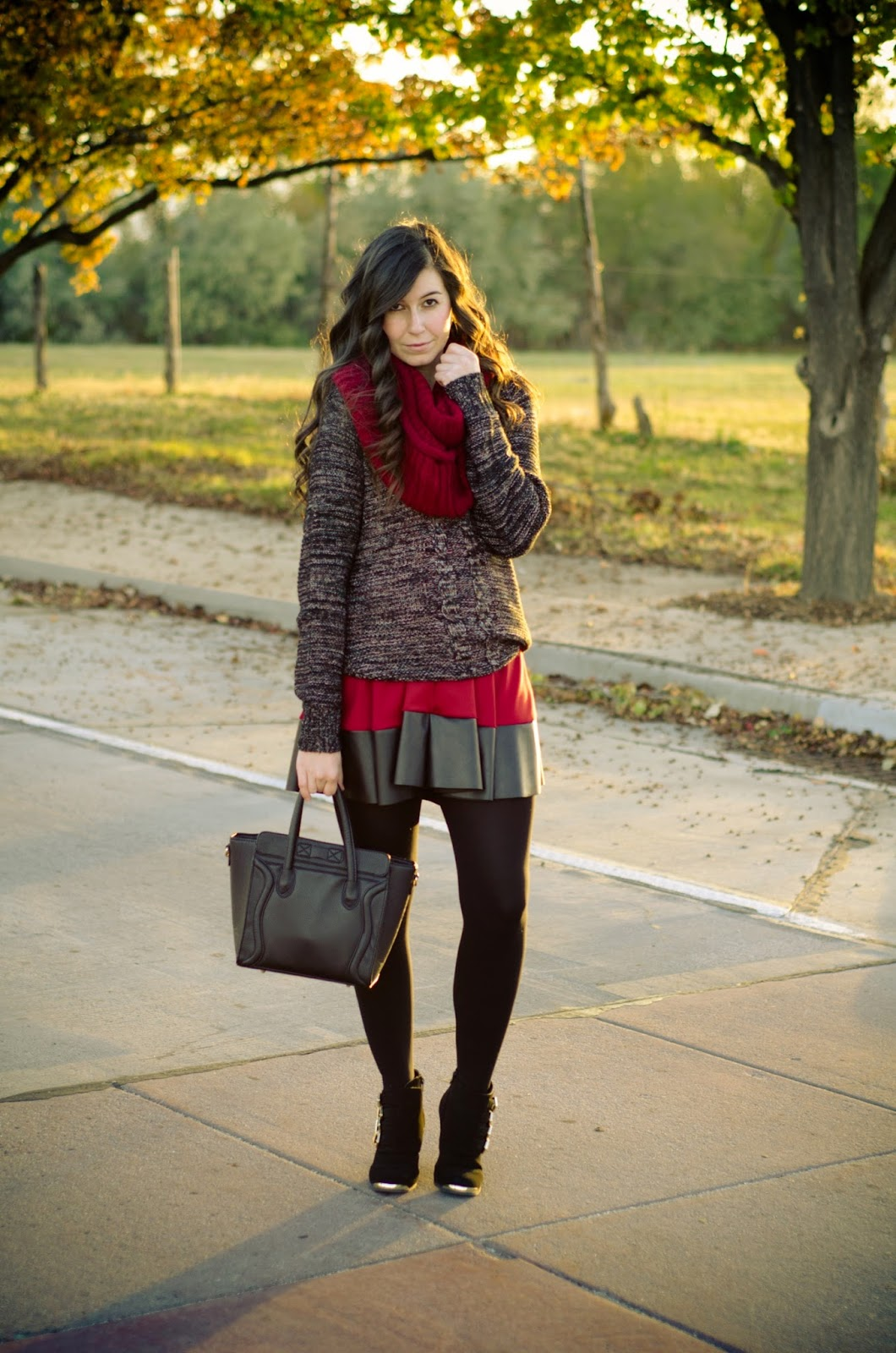 layered outfit for fall and winter, vanity fashion, vanity clothing, chunky sweater outfit, burgundy dress layered, photography, transition outfit into winter, fall outfit,