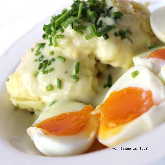 Penne im topf eier in senfsauce mit kartoffelp ree - Eier kochen zeit ...
