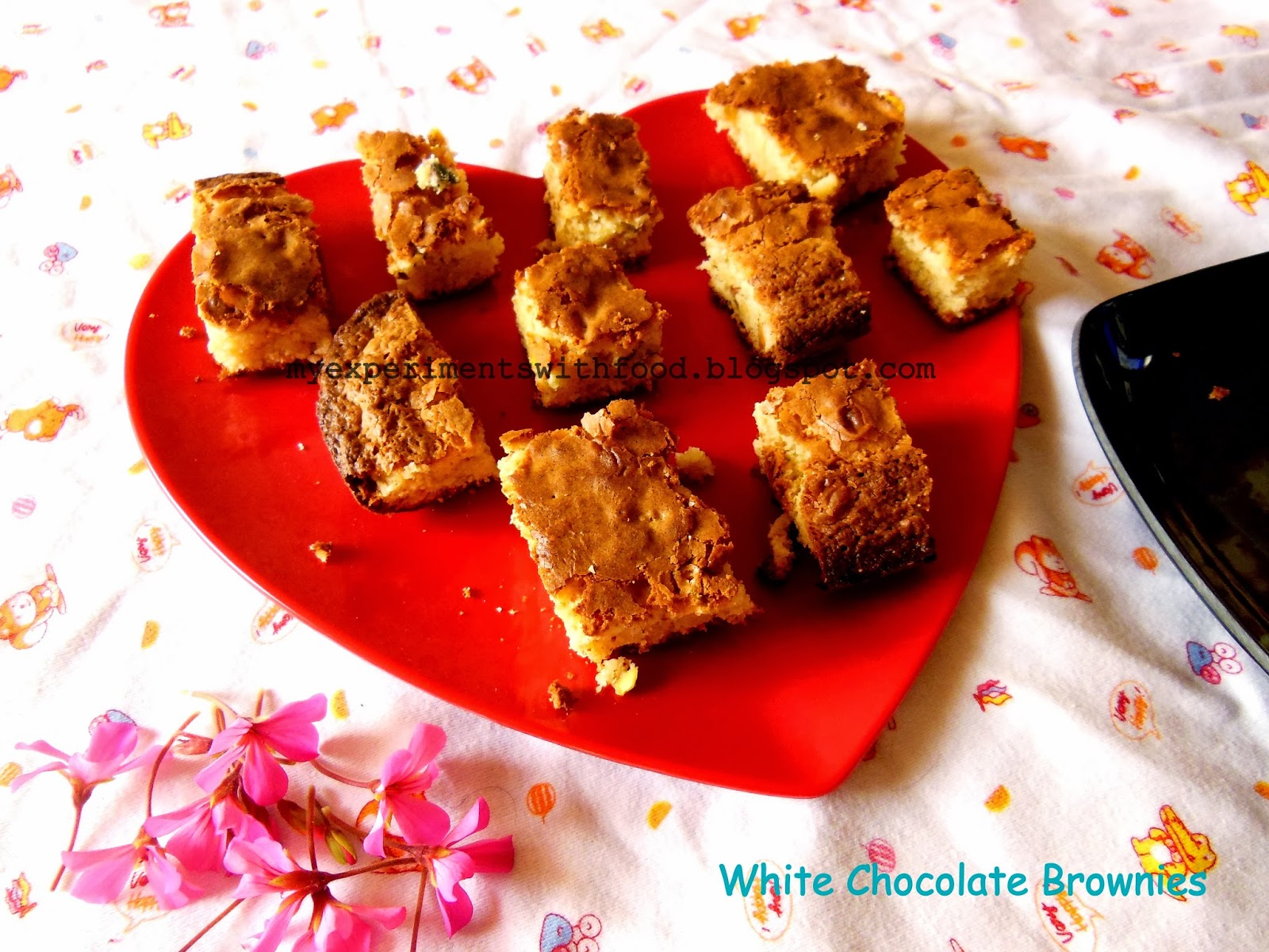 Nutty, Chewy White Chocolate Brownies