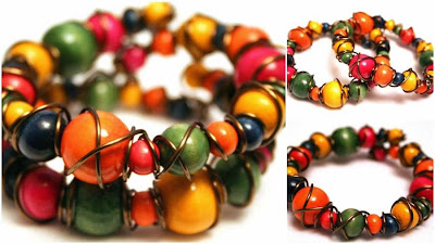 Cheerful bracelets: copper, wood beads, happy :: All Pretty Things