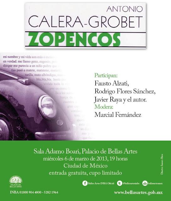 """Presentación de la novela """"Zopencos"""" en el Palacio de Bellas Artes"""