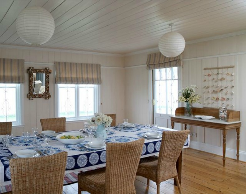 coastal cottage beach house dining room