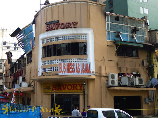 Savory Restaurant along Kalye Escolta, Manila after the fire last Thursday