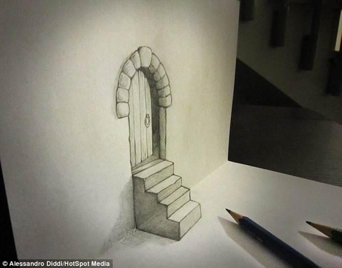 lukisan 3d pintu dan tangga