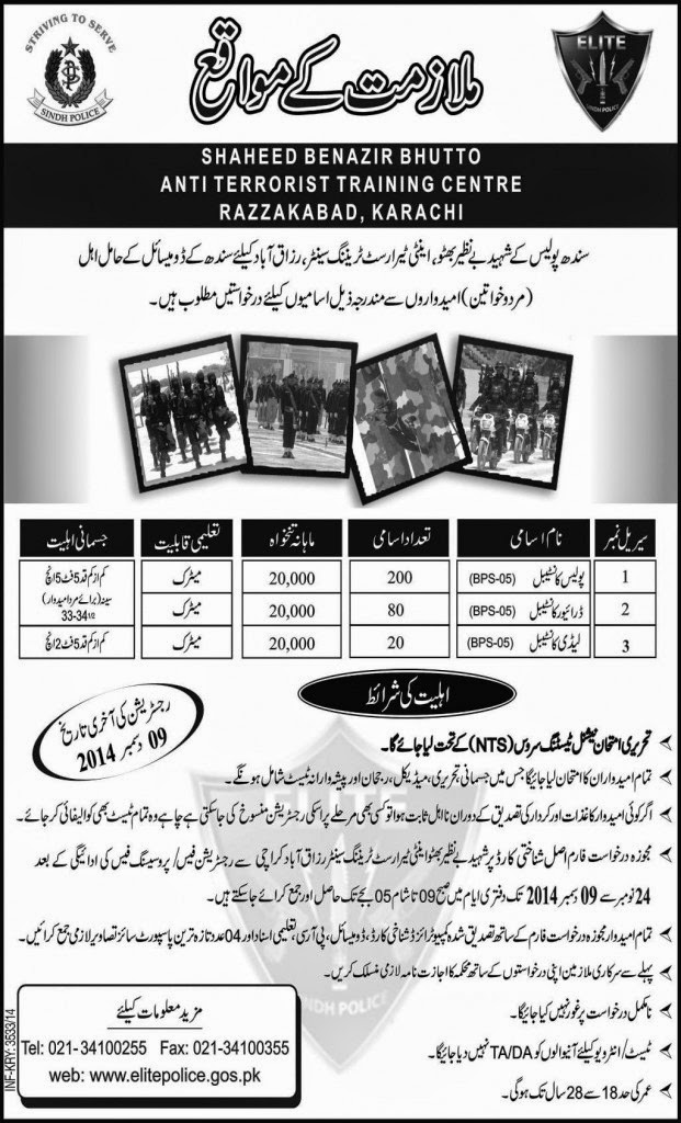 Jobs Available in Shaheed Benazir Bhutto Anti Terrorist Training Centre