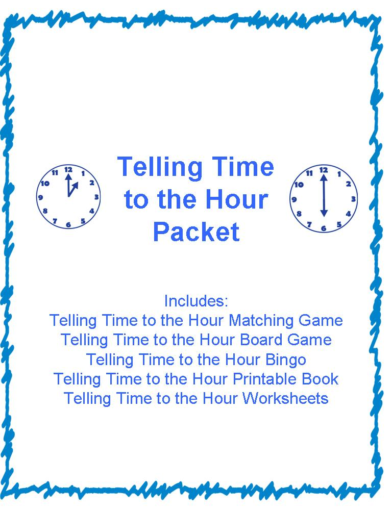 the hour bingo and telling time to the hour packet